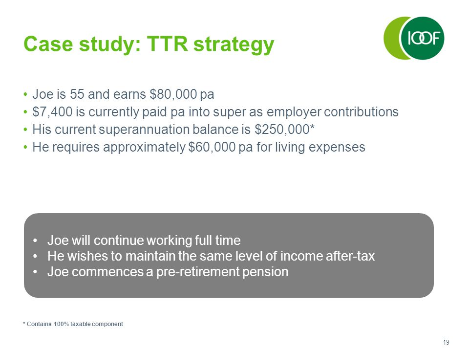 19 Case study: TTR strategy Joe is 55 and earns $80,000 pa $7,400 is currently paid pa into super as employer contributions His current superannuation balance is $250,000* He requires approximately $60,000 pa for living expenses * Contains 100% taxable component Joe will continue working full time He wishes to maintain the same level of income after-tax Joe commences a pre-retirement pension