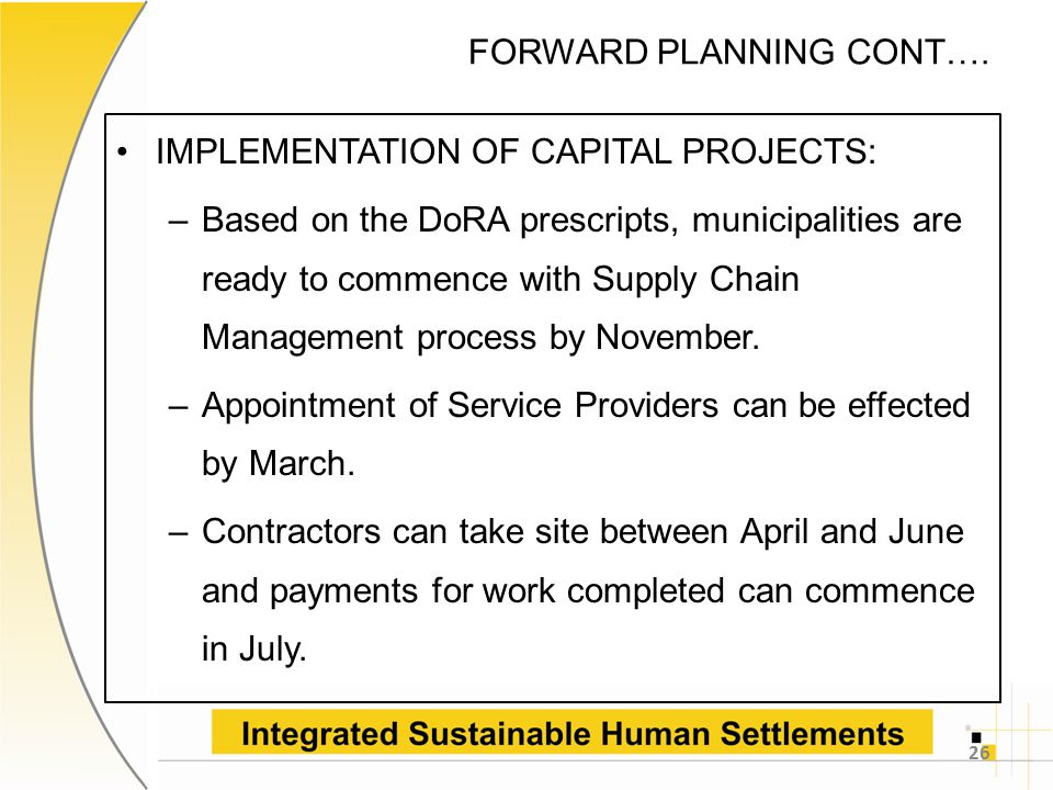 FORWARD PLANNING CONT….