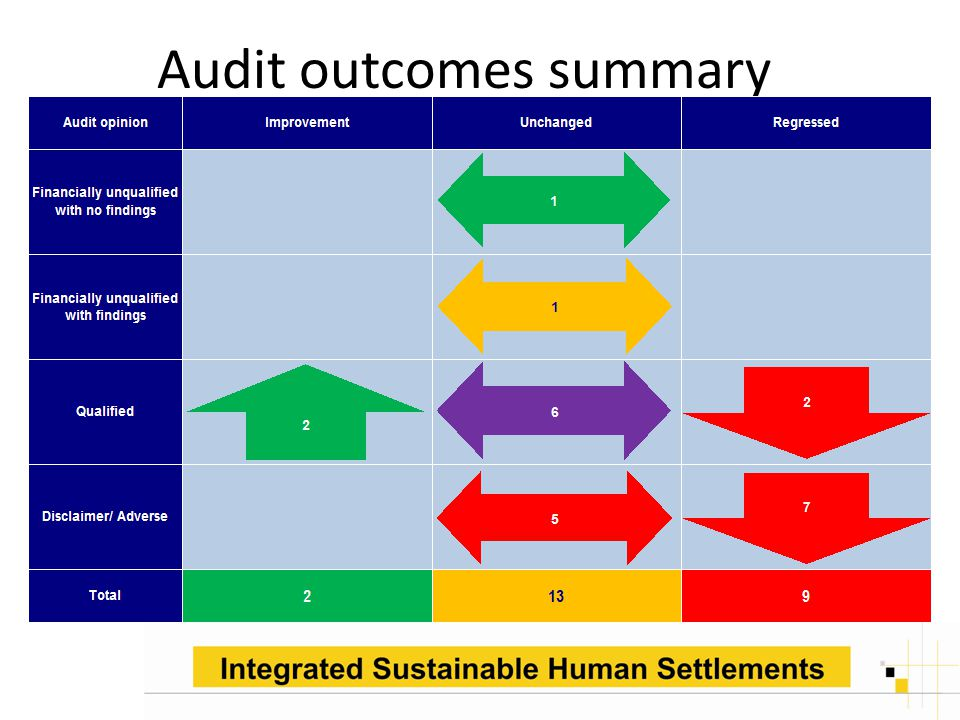 Audit outcomes summary.