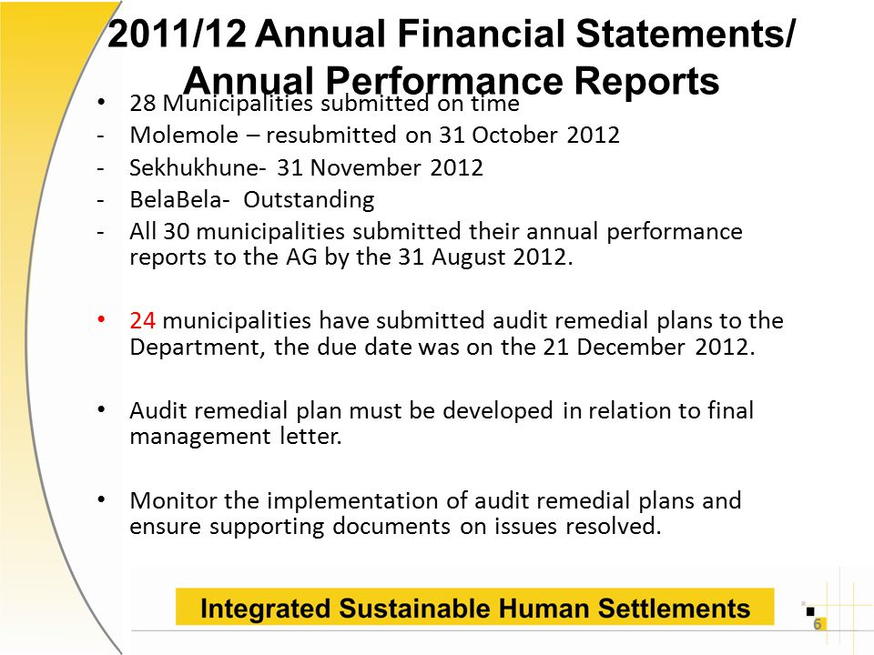 2011/12 Annual Financial Statements/ Annual Performance Reports 28 Municipalities submitted on time -Molemole – resubmitted on 31 October 2012 -Sekhukhune- 31 November 2012 -BelaBela- Outstanding -All 30 municipalities submitted their annual performance reports to the AG by the 31 August 2012.
