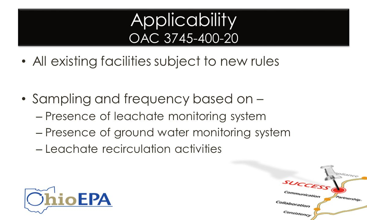Applicability OAC 3745-400-20 All existing facilities subject to new rules Sampling and frequency based on – – Presence of leachate monitoring system – Presence of ground water monitoring system – Leachate recirculation activities All existing facilities subject to new rules Sampling and frequency based on – – Presence of leachate monitoring system – Presence of ground water monitoring system – Leachate recirculation activities