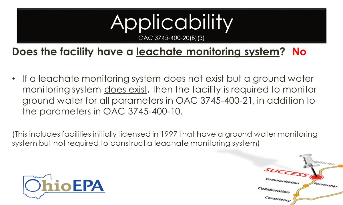 Applicability OAC 3745-400-20(B)(3) Does the facility have a leachate monitoring system.