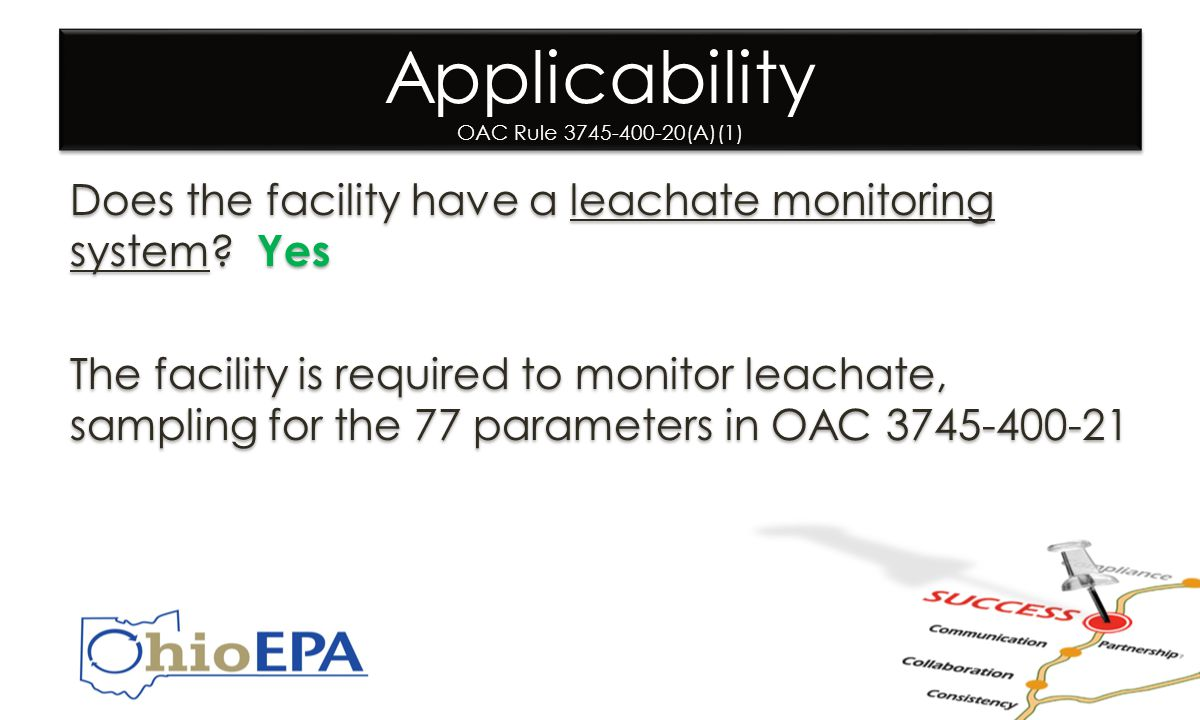 Applicability OAC Rule 3745-400-20(A)(1) Does the facility have a leachate monitoring system.