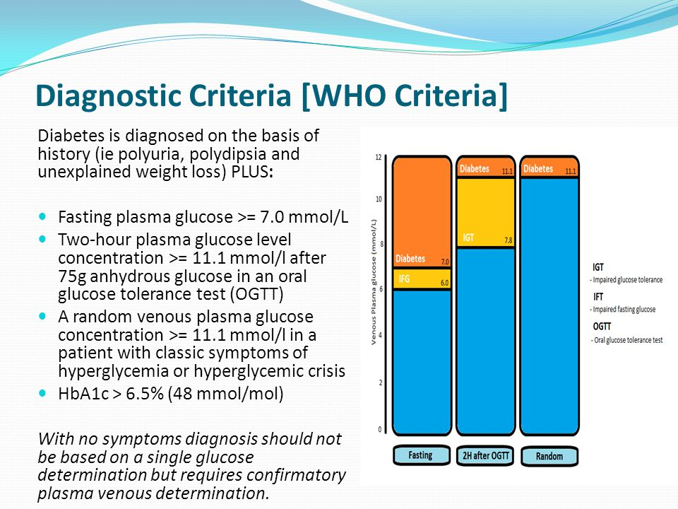 Diagnostic Criteria [WHO Criteria] Diabetes is diagnosed on the basis of history (ie polyuria, polydipsia and unexplained weight loss) PLUS: Fasting plasma glucose >= 7.0 mmol/L Two-hour plasma glucose level concentration >= 11.1 mmol/l after 75g anhydrous glucose in an oral glucose tolerance test (OGTT) A random venous plasma glucose concentration >= 11.1 mmol/l in a patient with classic symptoms of hyperglycemia or hyperglycemic crisis HbA1c > 6.5% (48 mmol/mol) With no symptoms diagnosis should not be based on a single glucose determination but requires confirmatory plasma venous determination.