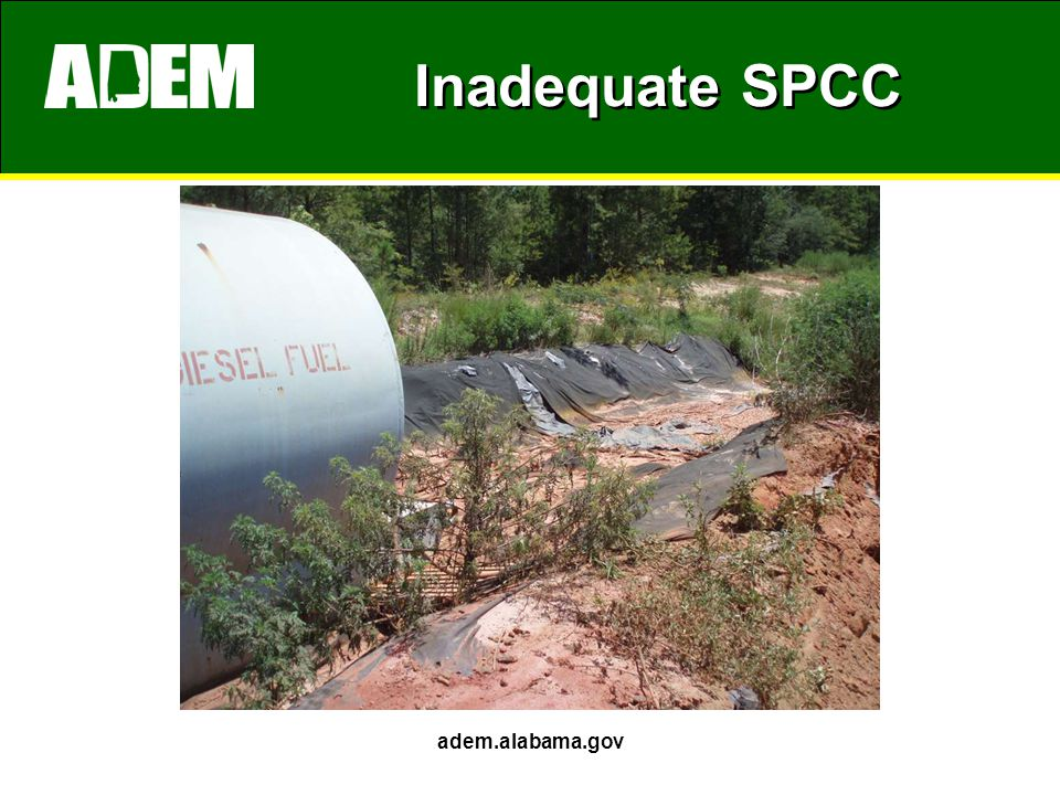 Inadequate SPCC adem.alabama.gov