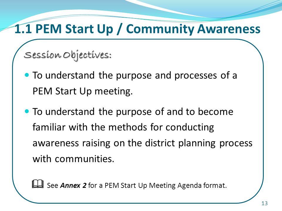 1.1 PEM Start Up / Community Awareness 13  See Annex 2 for a PEM Start Up Meeting Agenda format.