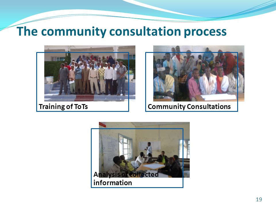 19 Training of ToTsCommunity Consultations Analysis of collected information The community consultation process