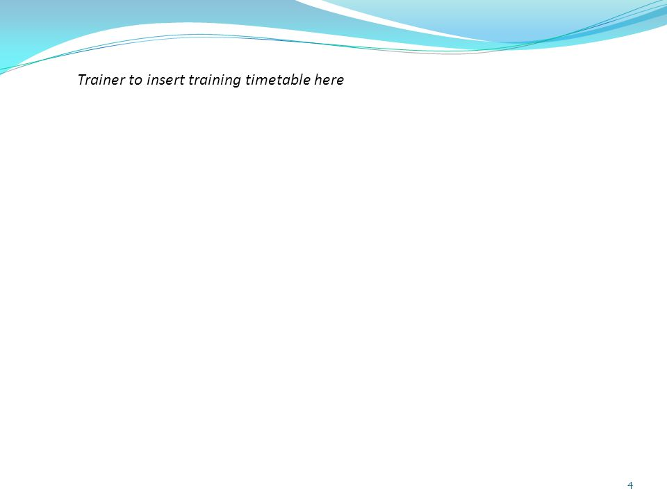 4 Trainer to insert training timetable here