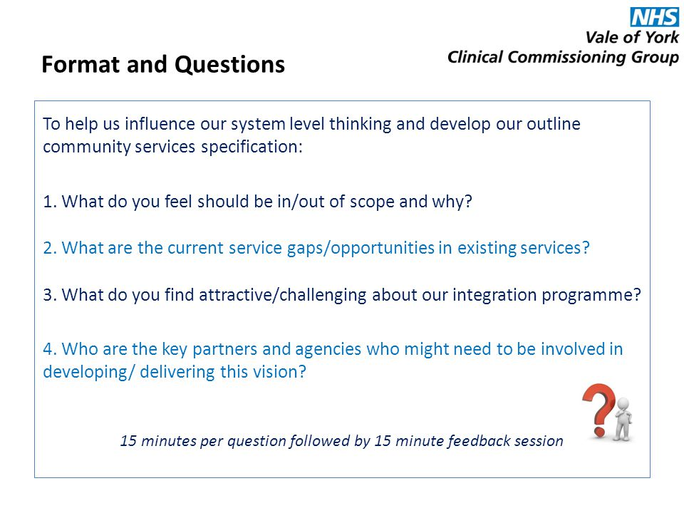 Format and Questions To help us influence our system level thinking and develop our outline community services specification: 1.
