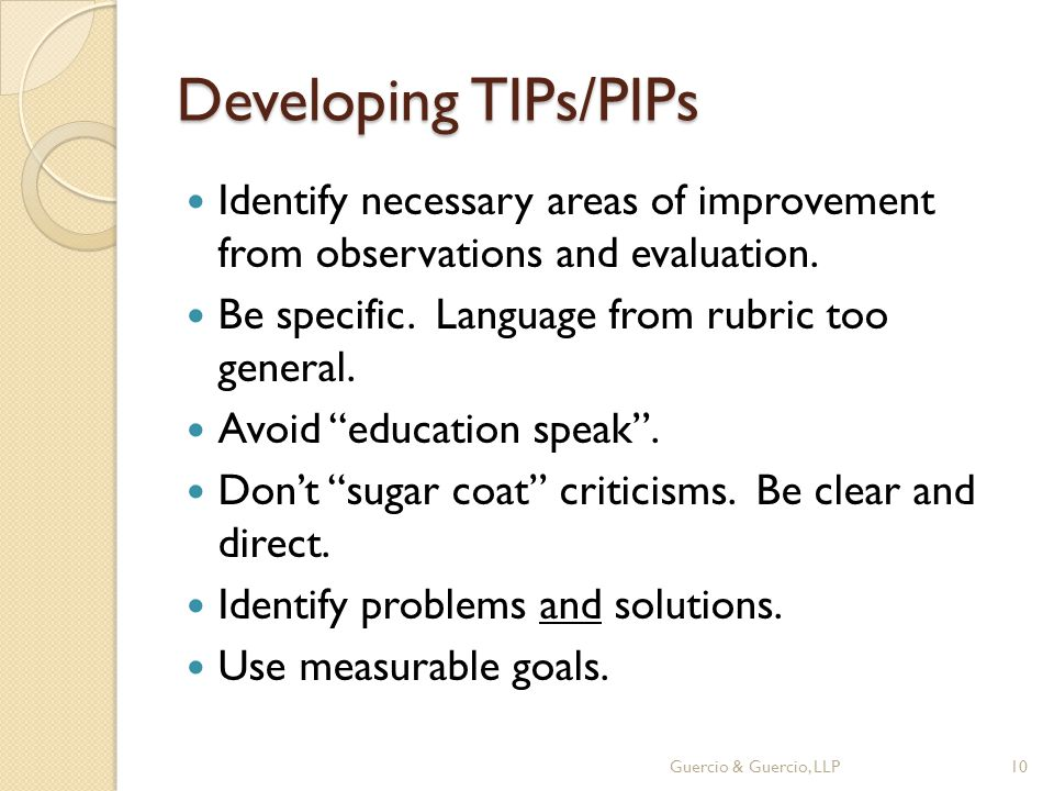Developing TIPs/PIPs Identify necessary areas of improvement from observations and evaluation.