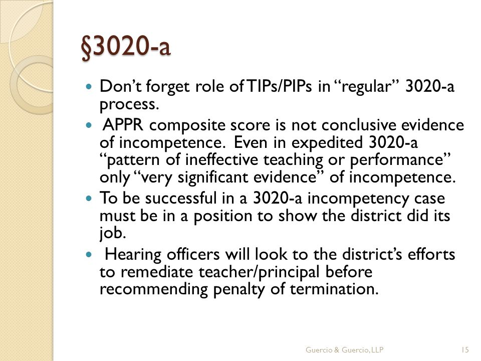 §3020-a Don't forget role of TIPs/PIPs in regular 3020-a process.