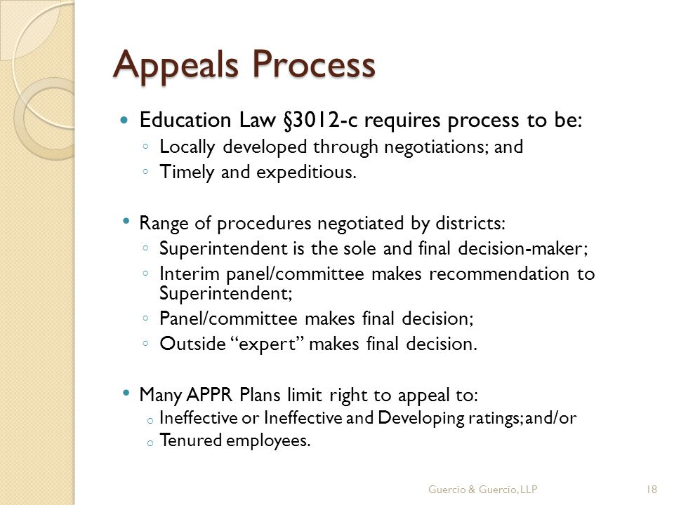 Appeals Process Education Law §3012-c requires process to be: ◦ Locally developed through negotiations; and ◦ Timely and expeditious.