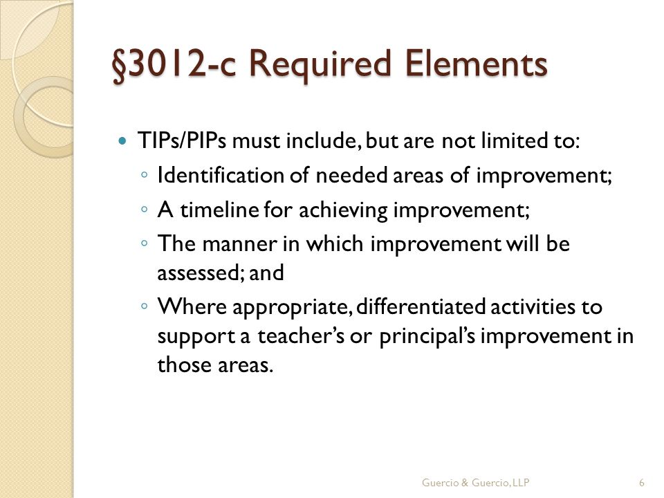 §3012-c Required Elements TIPs/PIPs must include, but are not limited to: ◦ Identification of needed areas of improvement; ◦ A timeline for achieving improvement; ◦ The manner in which improvement will be assessed; and ◦ Where appropriate, differentiated activities to support a teacher's or principal's improvement in those areas.