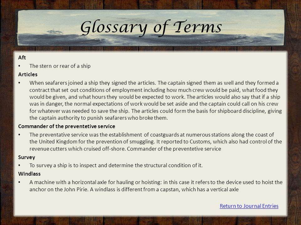 Glossary of Terms Aft The stern or rear of a ship Articles When seafarers joined a ship they signed the articles.