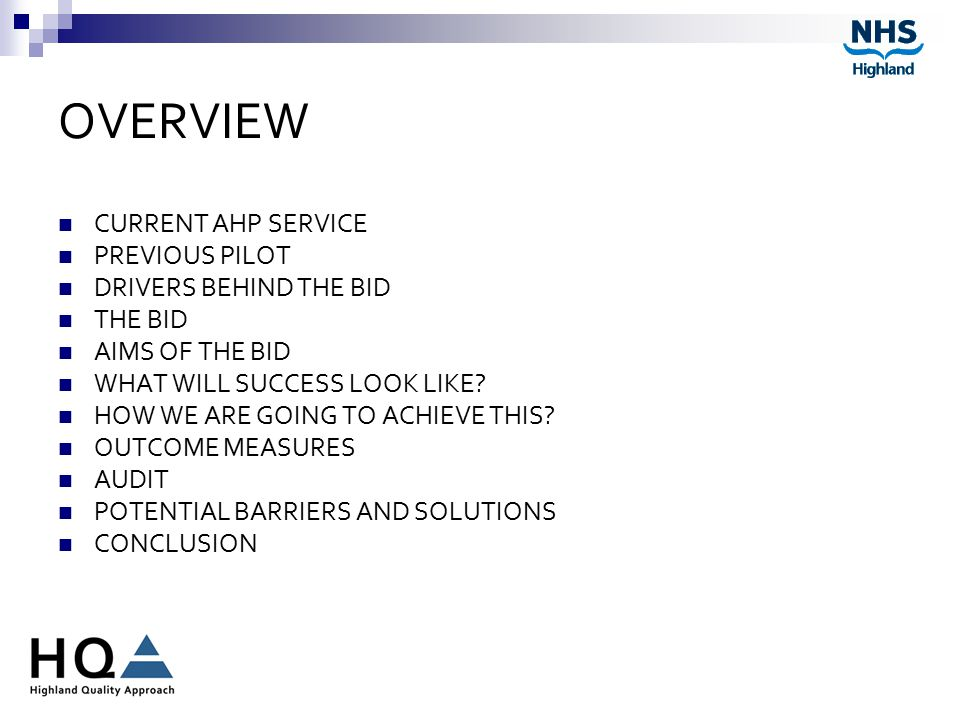 OVERVIEW CURRENT AHP SERVICE PREVIOUS PILOT DRIVERS BEHIND THE BID THE BID AIMS OF THE BID WHAT WILL SUCCESS LOOK LIKE.