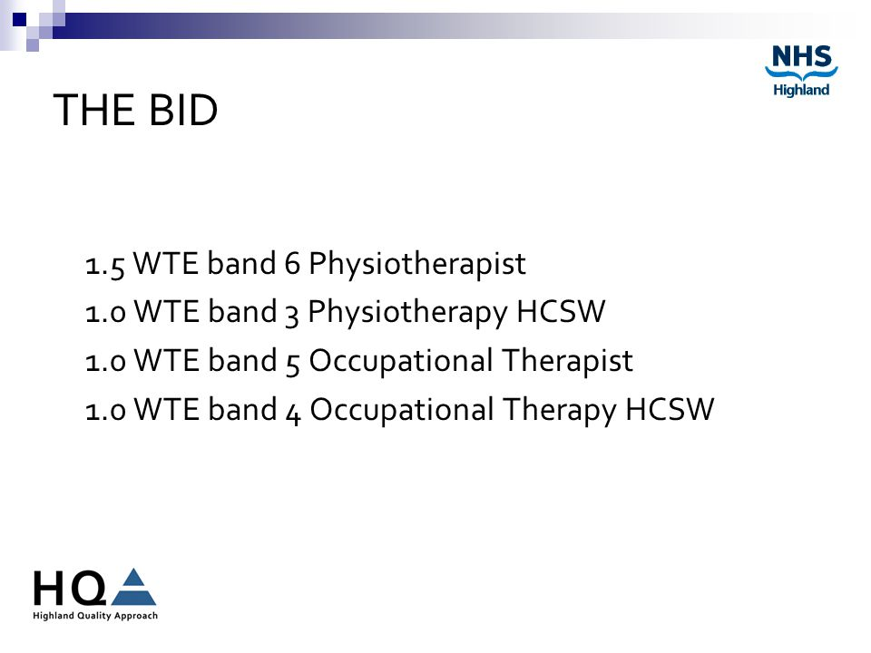 THE BID 1.5 WTE band 6 Physiotherapist 1.0 WTE band 3 Physiotherapy HCSW 1.0 WTE band 5 Occupational Therapist 1.0 WTE band 4 Occupational Therapy HCSW