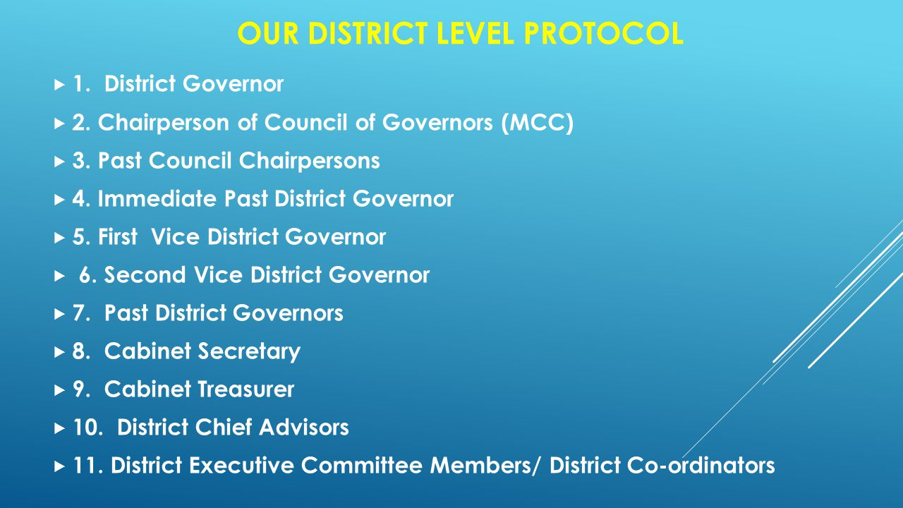 OUR DISTRICT LEVEL PROTOCOL  1. District Governor  2.