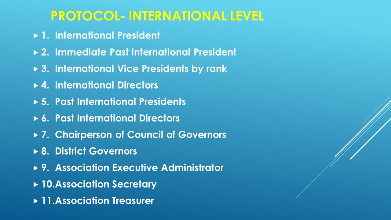 PROTOCOL- INTERNATIONAL LEVEL  1. International President  2.