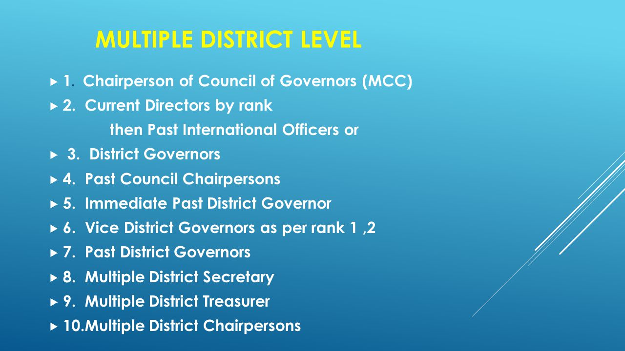 MULTIPLE DISTRICT LEVEL  1. Chairperson of Council of Governors (MCC)  2.
