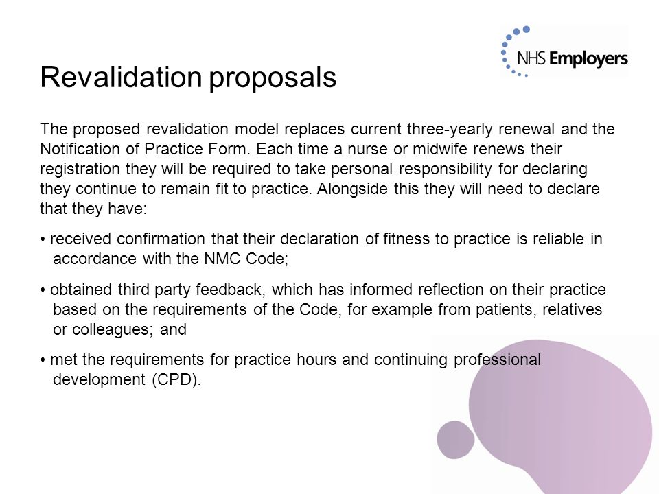 Confirmation The proposed revalidation model includes an element of 'third-party' checking.