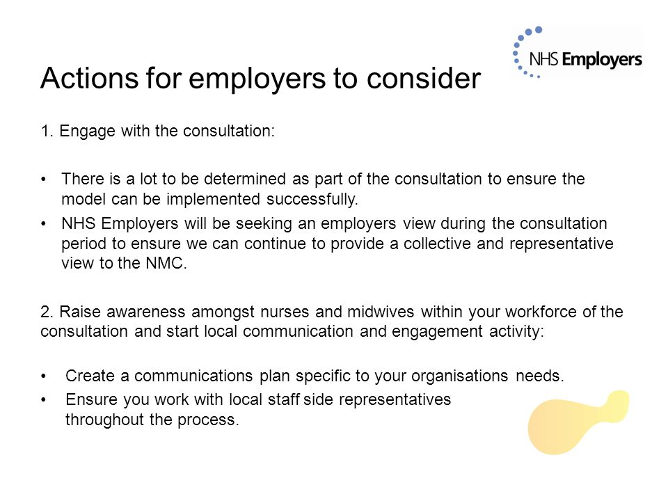1. Engage with the consultation: There is a lot to be determined as part of the consultation to ensure the model can be implemented successfully. NHS