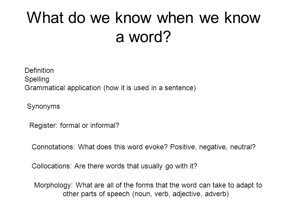 What do we know when we know a word? Definition Spelling Grammatical application (how it is used in a sentence) Synonyms Register: formal or informal?
