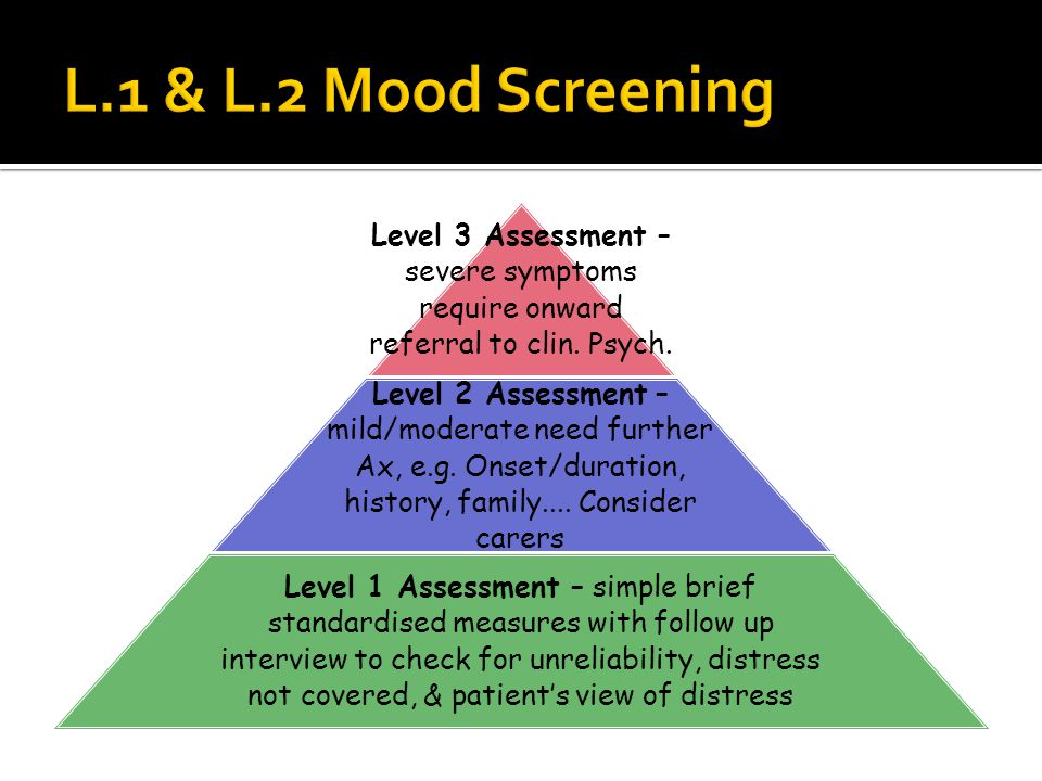 Level 3 Assessment – severe symptoms require onward referral to clin.