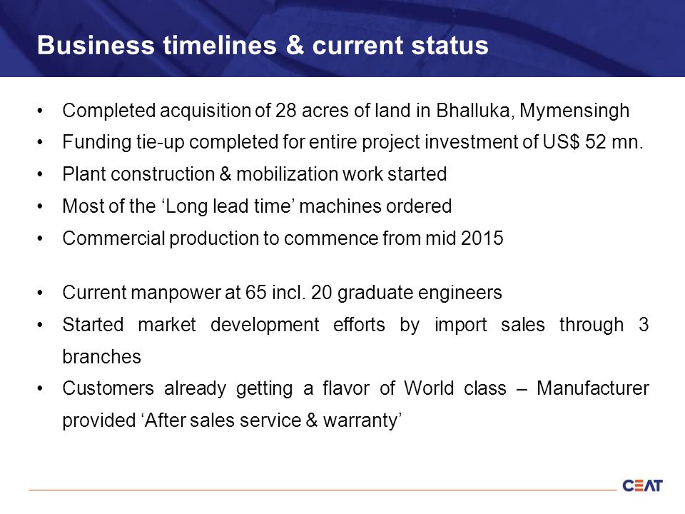 Business timelines & current status Completed acquisition of 28 acres of land in Bhalluka, Mymensingh Funding tie-up completed for entire project investment of US$ 52 mn.