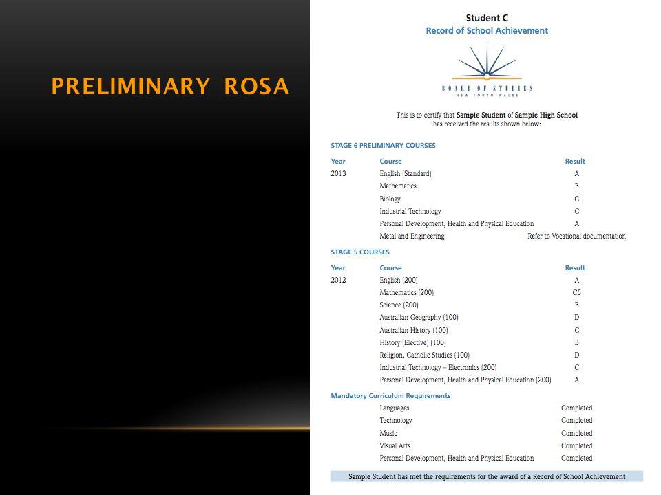 PRELIMINARY ROSA