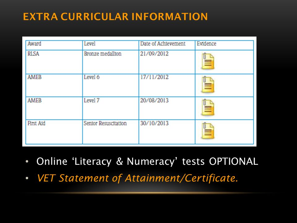 EXTRA CURRICULAR INFORMATION Online 'Literacy & Numeracy' tests OPTIONAL VET Statement of Attainment/Certificate.