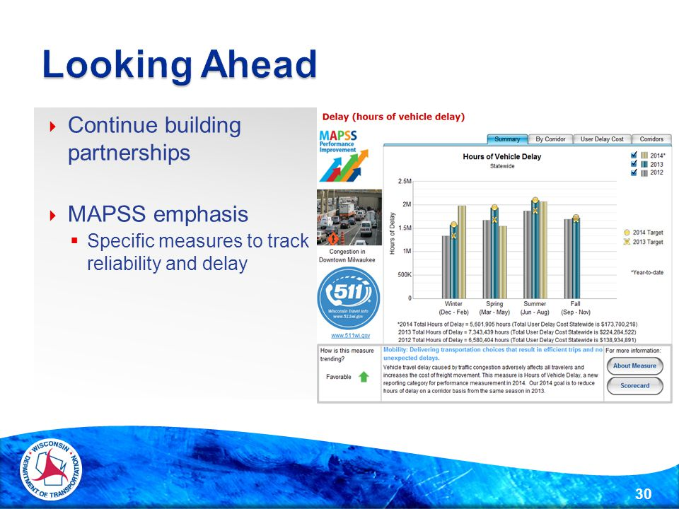  Continue building partnerships  MAPSS emphasis  Specific measures to track reliability and delay 30