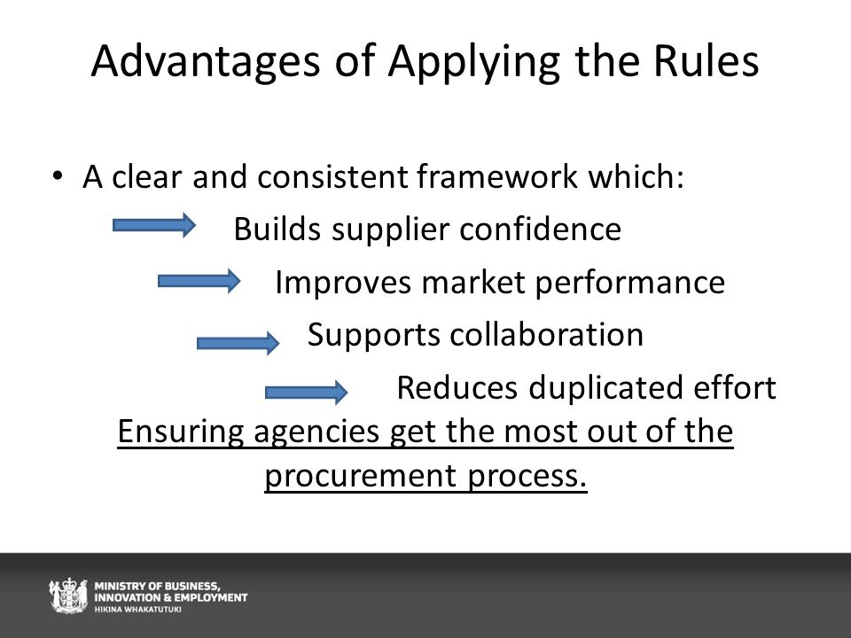 Advantages of Applying the Rules A clear and consistent framework which: Builds supplier confidence Improves market performance Supports collaboration Reduces duplicated effort Ensuring agencies get the most out of the procurement process.