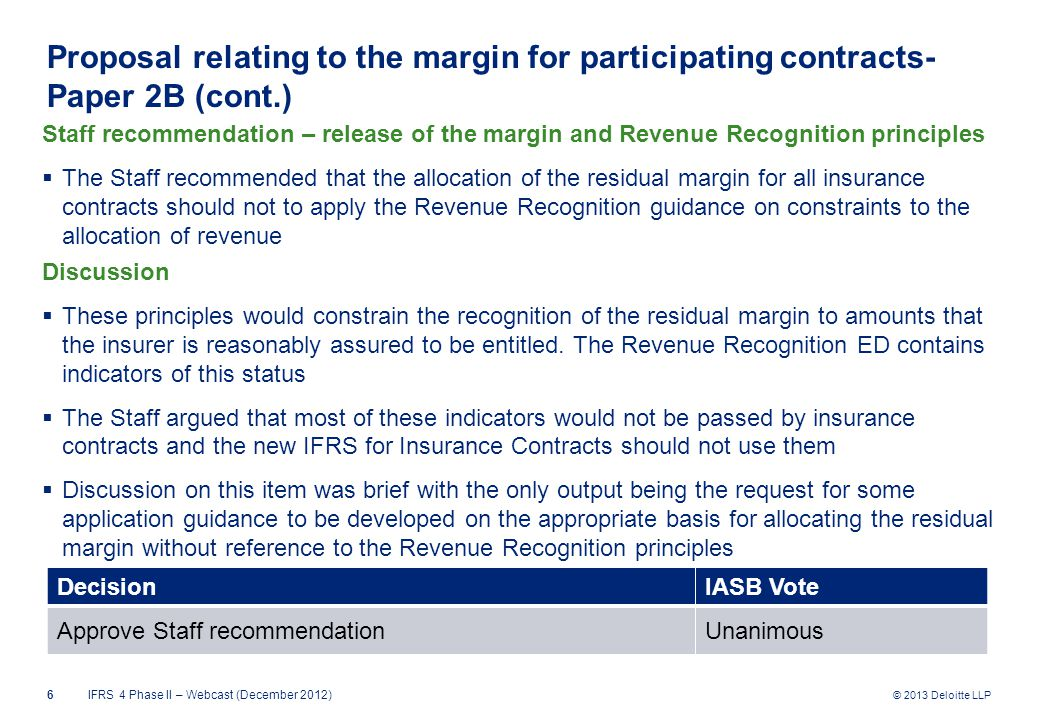 © 2013 Deloitte LLP Proposal relating to the margin for participating contracts- Paper 2B (cont.) Staff recommendation – release of the margin and Revenue Recognition principles  The Staff recommended that the allocation of the residual margin for all insurance contracts should not to apply the Revenue Recognition guidance on constraints to the allocation of revenue Discussion  These principles would constrain the recognition of the residual margin to amounts that the insurer is reasonably assured to be entitled.
