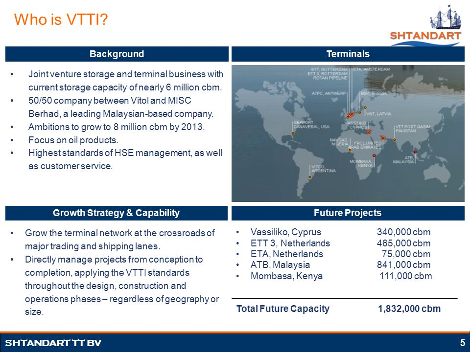 5 SHTANDART TT BV Who is VTTI? Joint venture storage and terminal business with current storage capacity of nearly 6 million cbm. 50/50 company betwee