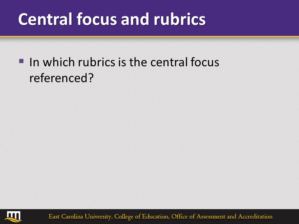 Central focus and rubrics  In which rubrics is the central focus referenced?