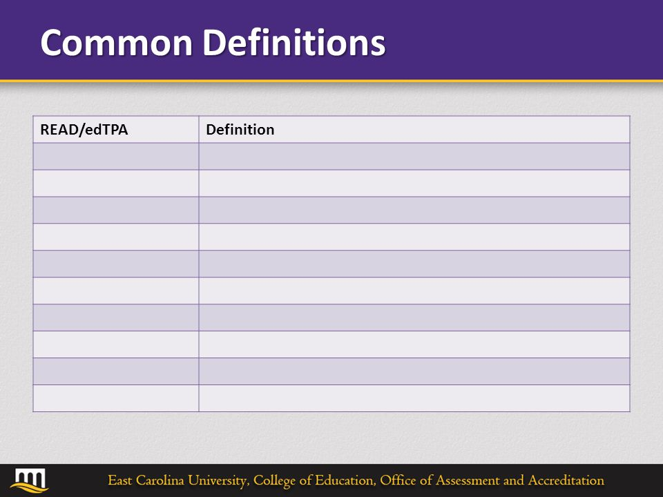 Common Definitions READ/edTPADefinition