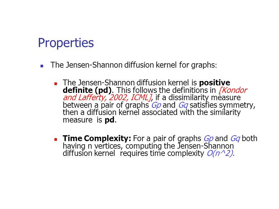 Properties The Jensen-Shannon diffusion kernel for graphs : The Jensen-Shannon diffusion kernel is positive definite (pd).