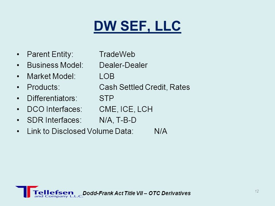Parent Entity:TradeWeb Business Model:Dealer-Dealer Market Model:LOB Products:Cash Settled Credit, Rates Differentiators:STP DCO Interfaces:CME, ICE,