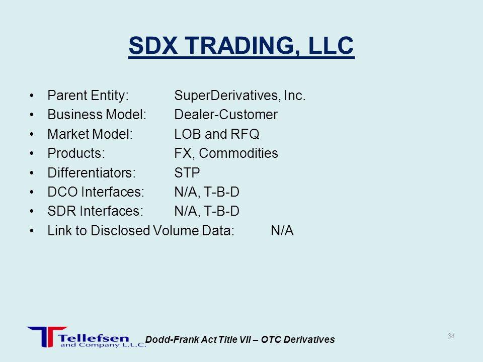 Parent Entity:SuperDerivatives, Inc. Business Model:Dealer-Customer Market Model:LOB and RFQ Products:FX, Commodities Differentiators:STP DCO Interfac