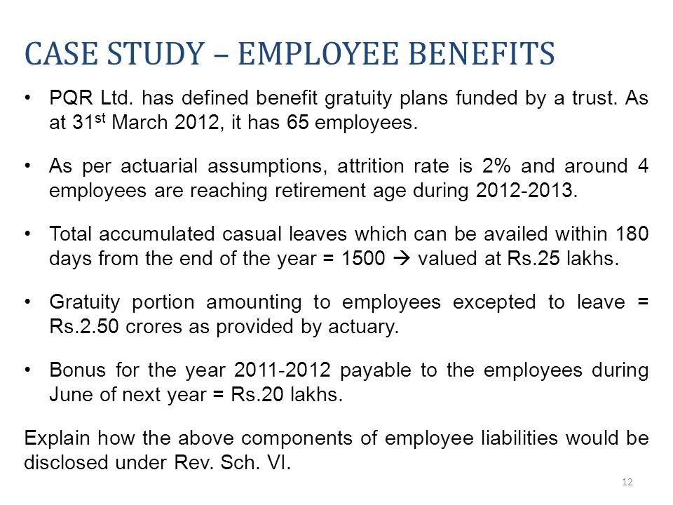 12 CASE STUDY – EMPLOYEE BENEFITS PQR Ltd. has defined benefit gratuity plans funded by a trust.