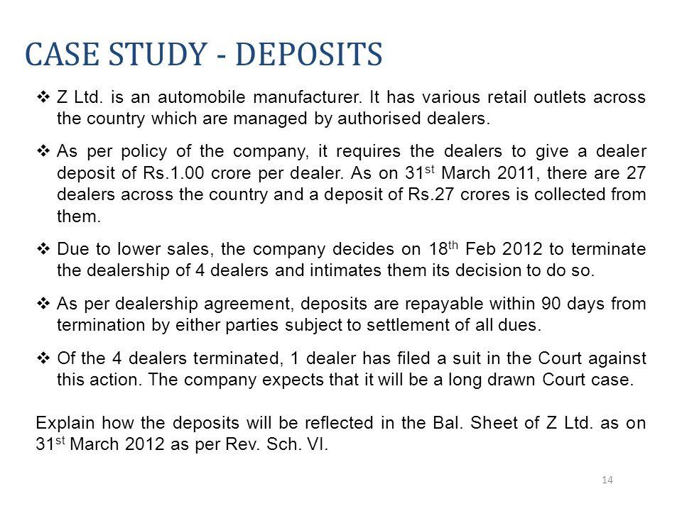  Z Ltd. is an automobile manufacturer.