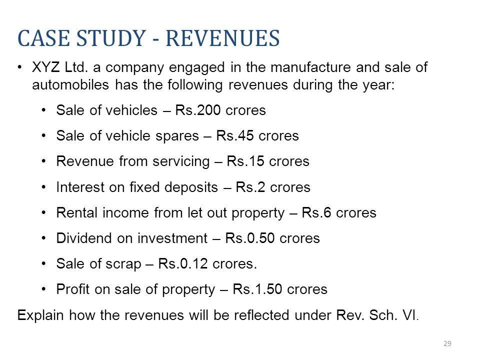 29 CASE STUDY - REVENUES XYZ Ltd.