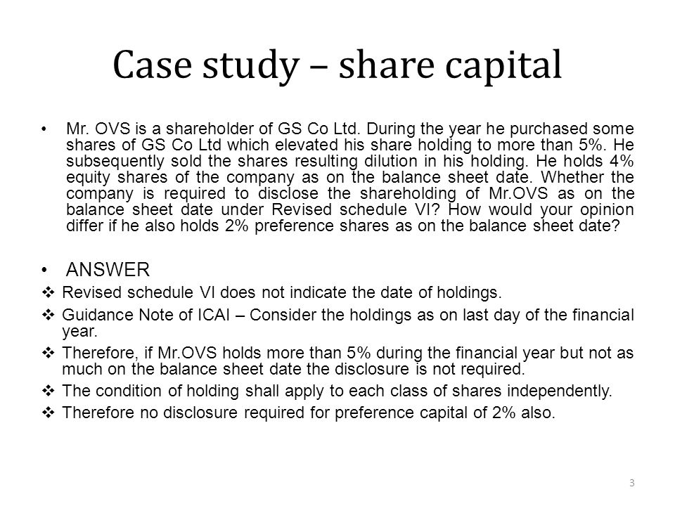 Case study – share capital Mr. OVS is a shareholder of GS Co Ltd.