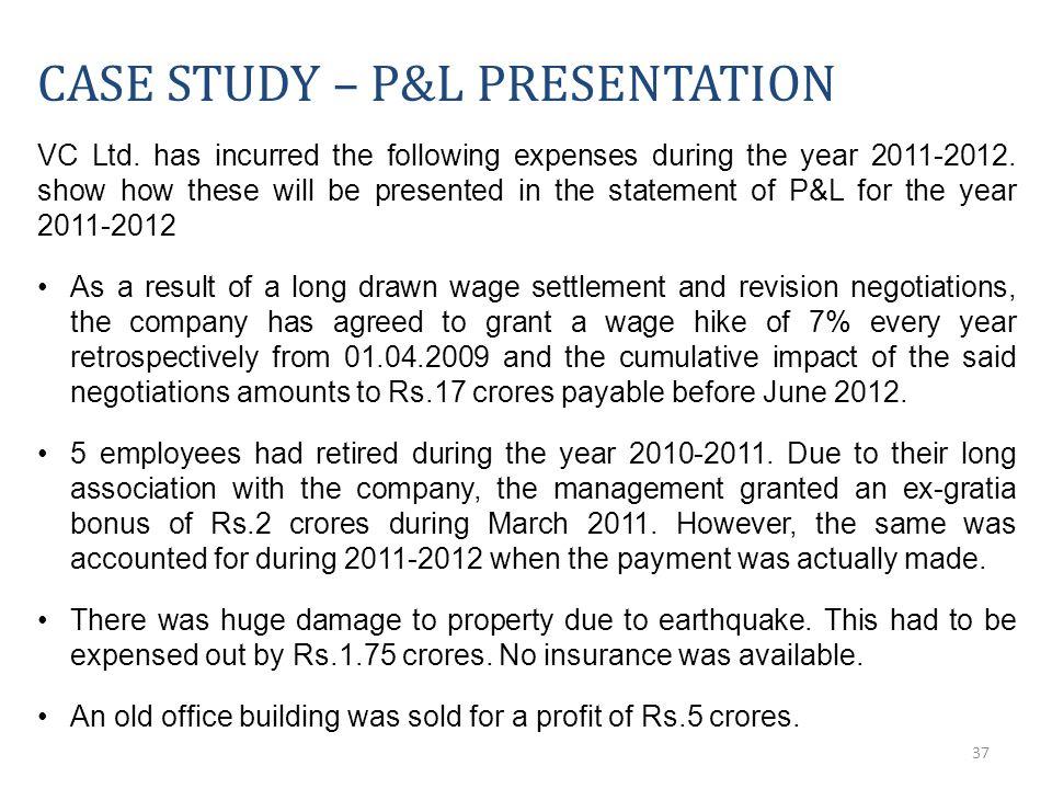 37 CASE STUDY – P&L PRESENTATION VC Ltd.