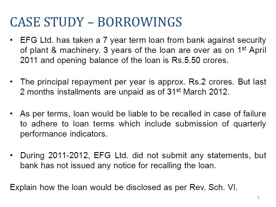 9 CASE STUDY – BORROWINGS EFG Ltd.