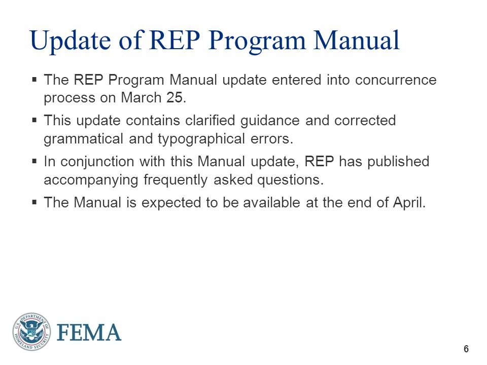 7 Disposition of Proposed Changes to REP Program Manual 7
