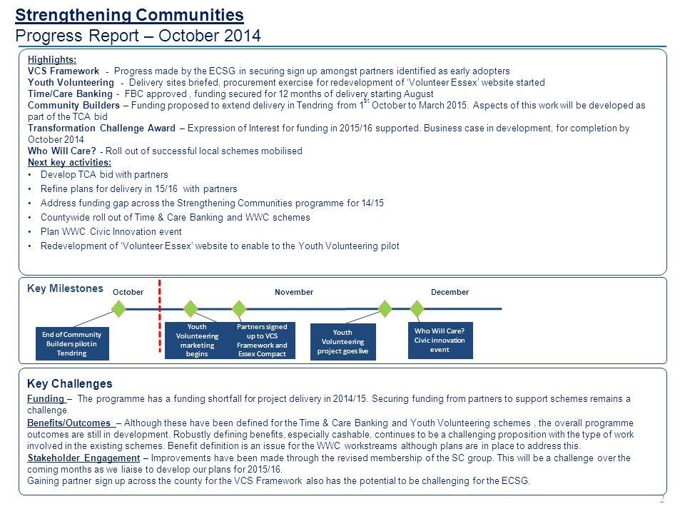 Strengthening Communities Progress Report – October 2014 2 Highlights: VCS Framework - Progress made by the ECSG in securing sign up amongst partners identified as early adopters Youth Volunteering - Delivery sites briefed, procurement exercise for redevelopment of 'Volunteer Essex' website started Time/Care Banking - FBC approved, funding secured for 12 months of delivery starting August Community Builders – Funding proposed to extend delivery in Tendring from 1 st October to March 2015.