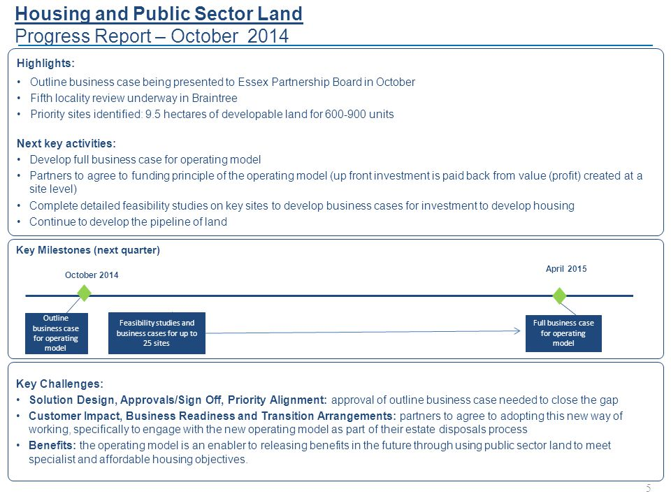 Key Milestones (next quarter) Housing and Public Sector Land Progress Report – October 2014 5 Highlights: Outline business case being presented to Essex Partnership Board in October Fifth locality review underway in Braintree Priority sites identified: 9.5 hectares of developable land for 600-900 units Next key activities: Develop full business case for operating model Partners to agree to funding principle of the operating model (up front investment is paid back from value (profit) created at a site level) Complete detailed feasibility studies on key sites to develop business cases for investment to develop housing Continue to develop the pipeline of land Key Challenges: Solution Design, Approvals/Sign Off, Priority Alignment: approval of outline business case needed to close the gap Customer Impact, Business Readiness and Transition Arrangements: partners to agree to adopting this new way of working, specifically to engage with the new operating model as part of their estate disposals process Benefits: the operating model is an enabler to releasing benefits in the future through using public sector land to meet specialist and affordable housing objectives.