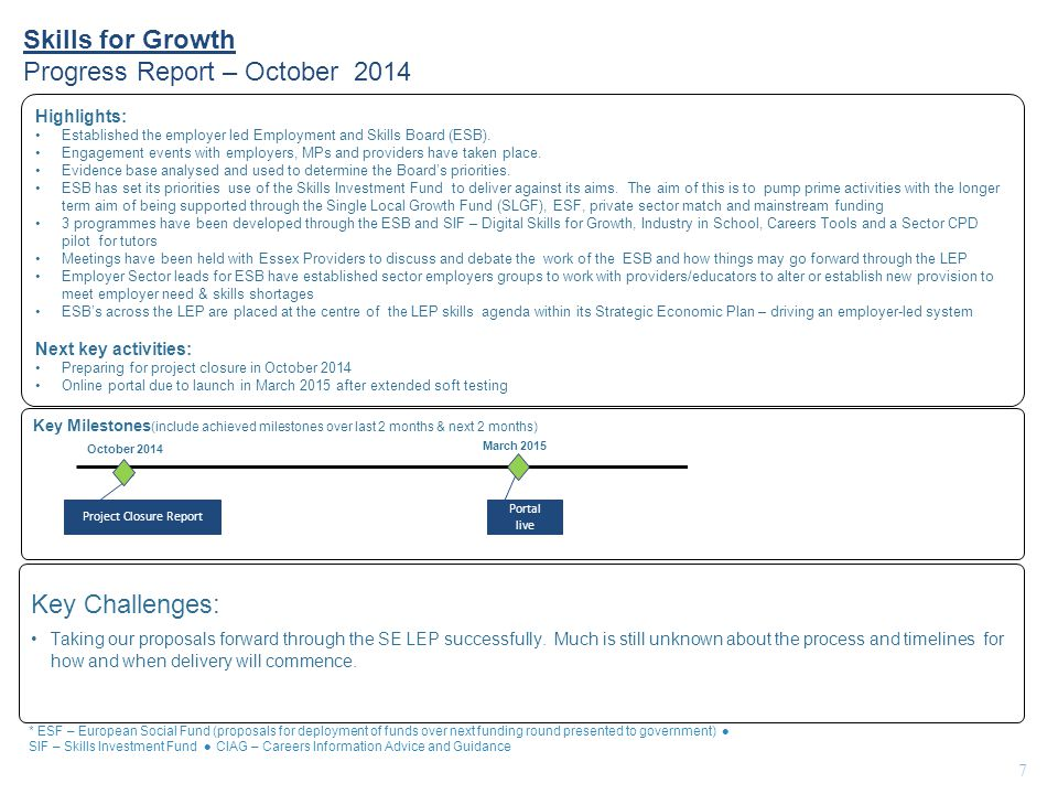 Skills for Growth Progress Report – October 2014 7 Key Milestones (include achieved milestones over last 2 months & next 2 months) Highlights: Established the employer led Employment and Skills Board (ESB).