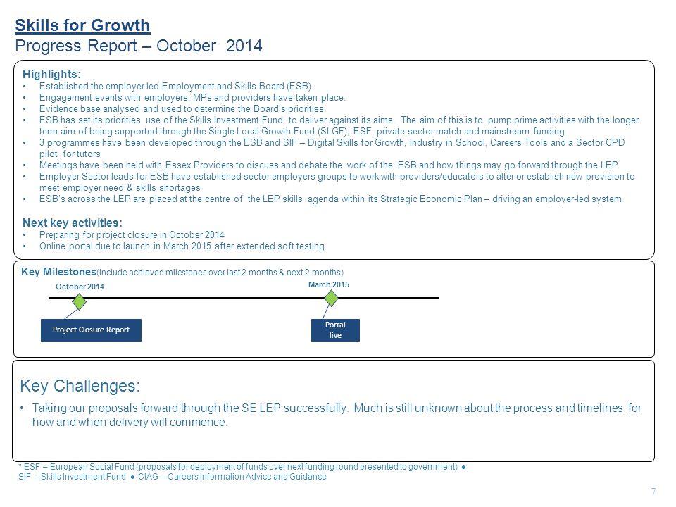 Skills for Growth Progress Report – October 2014 7 Key Milestones (include achieved milestones over last 2 months & next 2 months) Highlights: Establi